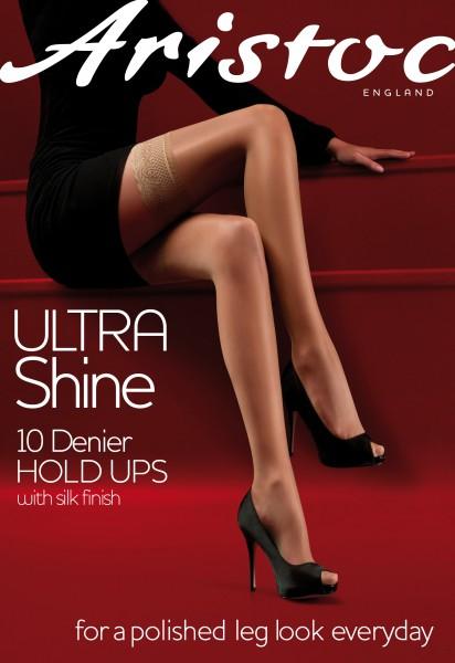 Aristoc Ultra Shine 10 denier - Calza autoreggente estiva con balza in pizzo motivo floreale